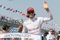 March 17, 2019: Antonio Giovinazzi (ITA) #99 from the Alfa Romeo Racing team waves to the crowd during the drivers parade prior to the start of the 2019 Australian Formula One Grand Prix at Albert Park, Melbourne, Australia. Photo Sydney Low