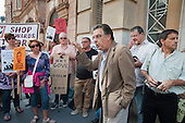 Education journalist and writer Francis Beckett. Teachers protest outside the Department for Education over changes in GCSE grade boundaries.