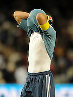 Iker Casillas of Spain looks dejected. USA vs Spain during the FIFA Confederations Cup at Free State Stadium in Manguang/Bloemfontein, South Africa on June 24, 2009..