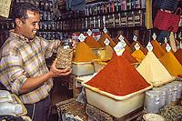 Essaouira, Morocco - Spice Vendor Zakariah bin Ahmed Sells Spices in the Suq Al-Ghazal (Al-Ghazal Market).