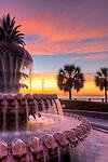 Charleston Pineapple Fountain Sunrise Waterfront Park Downtown Charleston South Carolina Winter 2010