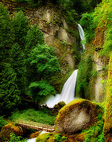 Tanner Creek Falls with bridge. Columbia River Gorge National Scenic Area, Oregon