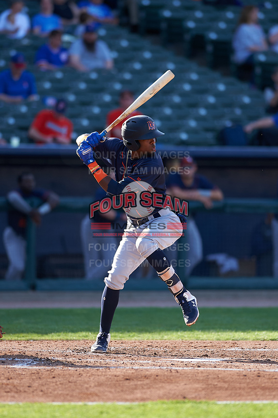 Bowling Green Hot Rods shortstop Osmy Gregorio (3) during a Midwest League game against the Peoria Chiefs at Dozer Park on May 5, 2019 in Peoria, Illinois. Peoria defeated Bowling Green 11-3. (Zachary Lucy/Four Seam Images)