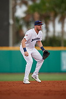 Pensacola Blue Wahoos Shrimp third baseman Mitch Nay (28) during a game against the Jacksonville Jumbo on August 15, 2018 at Blue Wahoos Stadium in Pensacola, Florida.  Jacksonville defeated Pensacola 9-2.  (Mike Janes/Four Seam Images)