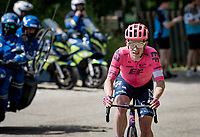 Lawson Craddock (USA/EF Education - Nippo) attacking solo up the final climb of the day<br /> <br /> 73rd Critérium du Dauphiné 2021 (2.UWT)<br /> Stage 6 from Loriol-sur-Drome to Le Sappey-en-Chartreuse (167km)<br /> <br /> ©kramon