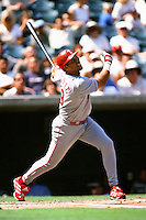 Juan Gonzalez of the Texas Rangers during a game against the Anaheim Angels at Angel Stadium circa 1999 in Anaheim, California. (Larry Goren/Four Seam Images)