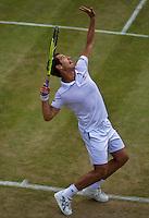 England, London, Juli 06, 2015, Tennis, Wimbledon, Richard Gasquet (FRA) serves<br /> Photo: Tennisimages/Henk Koster