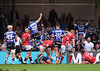 25th September 2021; The Recreation Ground, Bath, Somerset, England; Gallagher Premiership Rugby, Bath versus Newcastle Falcons; Bath celebrate a try from Max Ojomoh