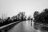 Julien Bernard (FRA/Trek-Segafredo) moving solo through the torrential rains<br /> <br /> 76th Paris-Nice 2018<br /> Stage 8: Nice > Nice (110km)