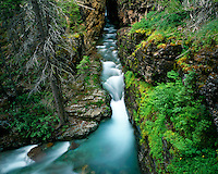 Baring Creek flowing through Sunrift Gorge; Glacier National Park, MT