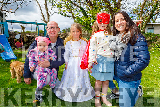 Sophia Rose and Faye Lily Scroope dressed in character for the Bryan Carr online musical and Sophia Rose also celebrated her 7th birthday at home on Friday.<br /> L to R: Lyra, John, Faye Lily and Sophia Rose Scroope and Caroline Sugrue Scroope.