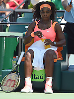 KEY BISCAYNE, FL - MARCH 30: Serena Williams defeats Svetlana Kuznetsova of Russia during day 8 of the Miami Open Presented by Itau at Crandon Park Tennis Center on March 30, 2015 in Key Biscayne, Florida.<br /> <br /> <br /> People:  Serena Williams<br /> <br /> Transmission Ref:  FLXX<br /> <br /> Must call if interested<br /> Michael Storms<br /> Storms Media Group Inc.<br /> 305-632-3400 - Cell<br /> 305-513-5783 - Fax<br /> MikeStorm@aol.com