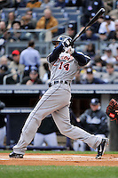 Apr 03, 2011; Bronx, NY, USA; Detroit Tigers outfielder Austin Jackson (14) during game against the New York Yankees at Yankee Stadium. Tigers defeated the Yankees 10-7. Mandatory Credit: Tomasso De Rosa