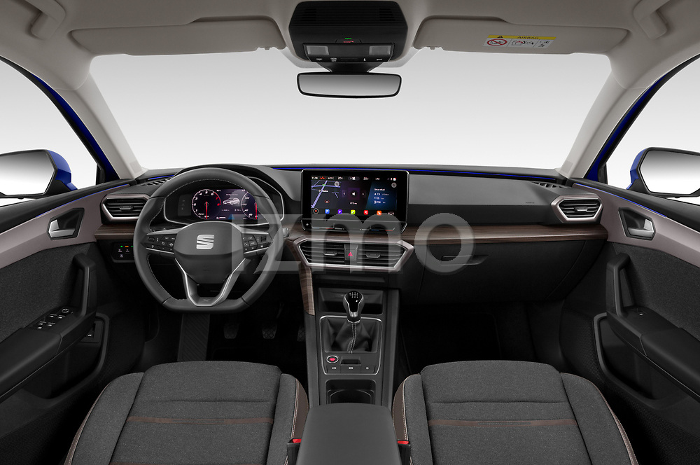 Stock photo of straight dashboard view of 2020 Seat Leon Xcellence 5 Door Wagon Dashboard