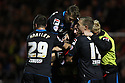 Filipe Morais of Stevenage celebrates scoring his second and their third goal and is mobbed by team-mates<br />  - Crewe Alexandra v Stevenage - Sky Bet League One - Alexandra Stadium, Gresty Road, Crewe - 22nd October 2013. <br /> © Kevin Coleman 2013