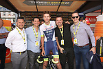 Wanty-Gobert Cycling Team riders mingle with guests in the Tour Village before Stage 3 of the 2019 Tour de France running 215km from Binche, Belgium to Epernay, France. 8th July 2019.<br /> Picture: ASO/Olivier Chabe | Cyclefile<br /> All photos usage must carry mandatory copyright credit (© Cyclefile | ASO/Olivier Chabe)