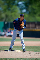 Bowling Green Hot Rods starting pitcher Adrian Navas (15) looks in for the sign during a game against the Beloit Snappers on May 7, 2017 at Pohlman Field in Beloit, Wisconsin.  Bowling Green defeated Beloit 6-2.  (Mike Janes/Four Seam Images)