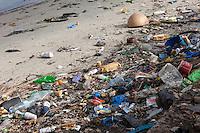 Senegal, Saint Louis.  Trash on the River Bank, Senegal River.
