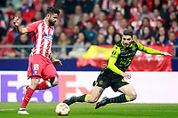 Atletico de Madrid's Diego Costa (l) and Sporting Clube de Portugal's Cristiano Piccini during Europa League Quarter-finals, 1st leg. April 5,2018.  *** Local Caption *** © pixathlon<br /> Contact: +49-40-22 63 02 60 , info@pixathlon.de