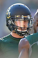 Baylor quarterback Seth Russell (17) speaks to wide receiver Quan Jones (12) during pre game warm up at McLean Stadium, Sunday, August 31, 2014 in Waco, Tex. (Mo Khursheed/TFV Media via AP Images)