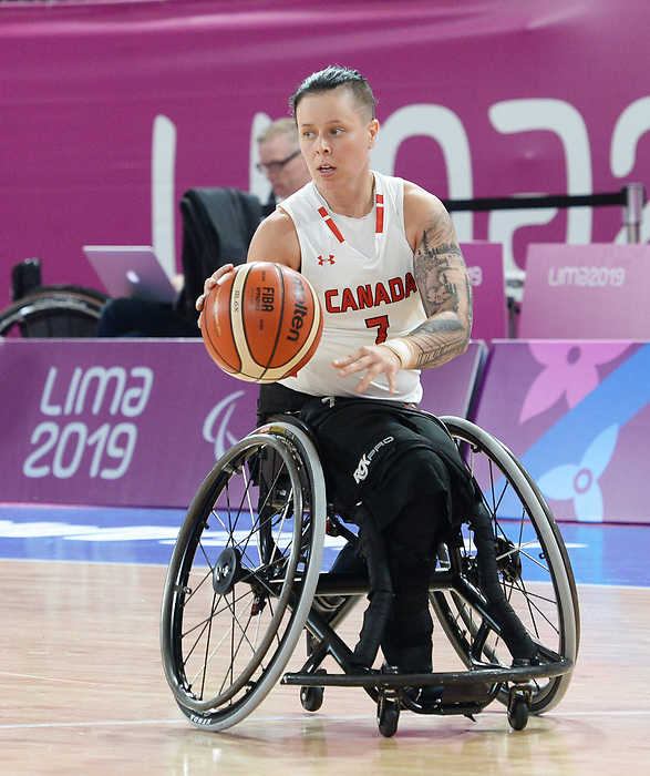 Cindy Ouellet, Lima 2019 - Wheelchair Basketball // Basketball en fauteuil roulant.<br /> Women's wheelchair basketball competes against Argentina // Le basketball en fauteuil roulant féminin contre Argentine. 25/08/2019.