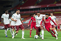 1st October 2020; Anfield, Liverpool, Merseyside, England; English Football League Cup, Carabao Cup, Liverpool versus Arsenal; Gabriel of Arsenal competes for the ball with Mohammed Salah of Liverpool