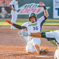 31 July 2016: Vermont Lake Monsters outfielder Luis Barrera slides home to score during a game against the Connecticut Tigers at Centennial Field in Burlington, Vermont. The Lake Monsters edged out the Tigers 4-3 in NY Penn League action.  Mandatory Credit: Ed Wolfstein Photo *** RAW (NEF) Image File Available ***