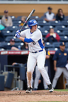 Jack Labosky (6) of the Duke Blue Devils at bat against the California Golden Bears at Durham Bulls Athletic Park on February 20, 2016 in Durham, North Carolina.  The Blue Devils defeated the Golden Bears 6-5 in 10 innings.  (Brian Westerholt/Four Seam Images)