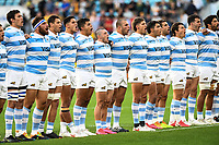 2nd October 2021, Cbus Super Stadium, Gold Coast, Queensland, Australia;  Argentina players sing the national anthems. Australian Wallabies versus Argentina Pumas. Rugby Championship test match. Rugby Union. Gold Coast, Australia.