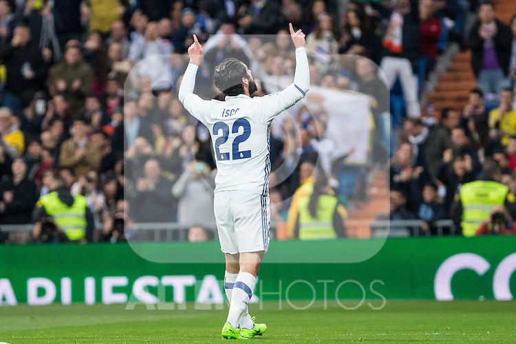 Isco Alarcon of Real Madrid celebrates after scoring a goal during the match of Spanish La Liga between Real Madrid and UD Las Palmas at  Santiago Bernabeu Stadium in Madrid, Spain. March 01, 2017. (ALTERPHOTOS / Rodrigo Jimenez)