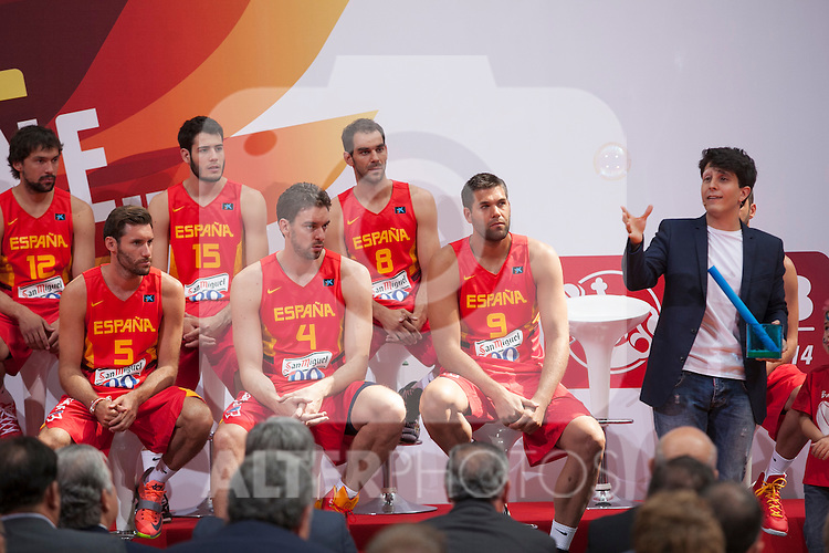 Rudy Fernandez, Pau Gasol and Felipe Reyes during the official presentation of Spain´s basketball team for the 2014 Spain Basketball Championship in Madrid, Spain. July 24, 2014. (ALTERPHOTOS/Victor Blanco)