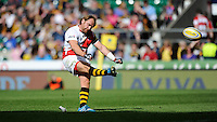 Andy Goode of London Wasps takes a conversion kick during the Aviva Premiership match between London Wasps and Gloucester Rugby at Twickenham Stadium on Saturday 19th April 2014 (Photo by Rob Munro)