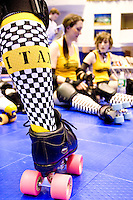 The Bronx Gridlock and the Manhattan Mayhem get ready to clash at a Gotham Girls Roller Derby bout in New York City on May 6, 2006.