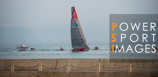 Teams heading toward the finish line of the Volvo Ocean Race Leg 3 Abu Dhabi-Sanya on January 27, 2015 in Sanya, China. The Volvo Ocean Race 2014-15 is the 12th running of this ocean marathon. Starting from Alicante in Spain on October 11, 2014, the route, spanning some 39,379 nautical miles, visits 11 ports in 11 countries (Spain, South Africa, United Arab Emirates, China, New Zealand, Brazil, United States, Portugal, France, the Netherlands and Sweden) over nine months. The Volvo Ocean Race is the world's premier ocean race for professional racing crews. Photo by Victor Fraile / Power Sport Images