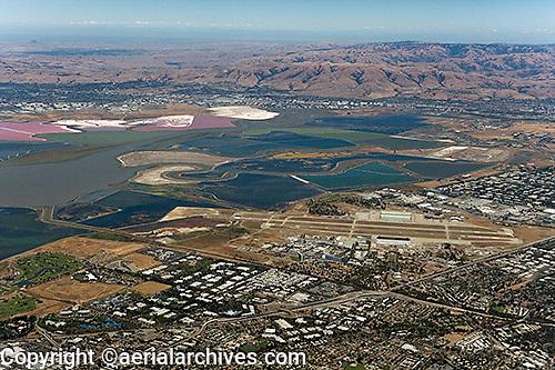 high overview aerial photograph Mountain View, Sunnyvale, Santa Clara county, California