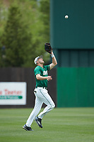 Left fielder Zach Jarrett (10) of the Charlotte 49ers catches a fly ball during the game against the Marshall Thundering Herd at Hayes Stadium on April 23, 2016 in Charlotte, North Carolina. The Thundering Herd defeated the 49ers 10-5.  (Brian Westerholt/Four Seam Images)