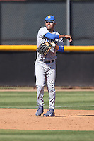 Peter Maris (1) of the UC Santa Barbara Gouchos makes a throw during a game against the Cal State Northridge Matadors at Matador Field on April 10, 2015 in Northridge, California. UC Santa Barbara defeated Cal State Northridge, 7-4. (Larry Goren/Four Seam Images)