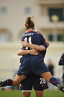 US Women's National Team forward Lauren Cheney jumps into the arms of teammate Abby Wambach after scoring her first of two goals vs Sweden in an Algarve Cup game in Ferreiras, Portugal on March 1, 2010.