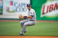 San Antonio Missions shortstop Trea Turner (4) throws to first after fielding a ground ball during a game against the NW Arkansas Naturals on May 30, 2015 at Arvest Ballpark in Springdale, Arkansas.  San Antonio defeated NW Arkansas 5-1.  (Mike Janes/Four Seam Images)