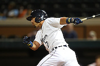 Lakeland Flying Tigers second baseman Javier Betancourt (7) at bat during a game against the Palm Beach Cardinals on April 13, 2015 at Joker Marchant Stadium in Lakeland, Florida.  Palm Beach defeated Lakeland 4-0.  (Mike Janes/Four Seam Images)