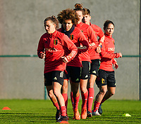 20200911 - TUBIZE , Belgium : Davina Philtjens and Kassandra Missipo pictured during the training session of the Belgian Women's National Team, Red Flames ahead of the Women's Euro Qualifier match against Switzerland, on the 28th of November 2020 at Proximus Basecamp. PHOTO: SEVIL OKTEM   SPORTPIX.BE