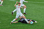 Tom Krauss (#14, 1. FC Nürnberg) grätscht Paul-Philipp Besong (#27, 1. FC Nürnberg) um. Foul. Zweikampf.                               , , Nürnberg, Deutschland, 27 April, 2021. Max Morlock Stadion beim Spiel in der 2. Bundesliga, 1. FC Nürnberg - Holstein Kiel    <br /> <br /> Foto © PIX-Sportfotos *** Foto ist honorarpflichtig! *** Auf Anfrage in hoeherer Qualitaet/Aufloesung. Belegexemplar erbeten. Veroeffentlichung ausschliesslich fuer journalistisch-publizistische Zwecke. For editorial use only. DFL regulations prohibit any use of photographs as image sequences and/or quasi-video.