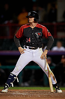 Erie SeaWolves Cam Gibson (14) reacts to a strike call during an Eastern League game against the Altoona Curve on June 3, 2019 at UPMC Park in Erie, Pennsylvania.  Altoona defeated Erie 9-8.  (Mike Janes/Four Seam Images)