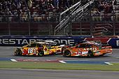 #18: Kyle Busch, Joe Gibbs Racing, Toyota Camry M&M's M&M's Red Nose Day and #19: Daniel Suarez, Joe Gibbs Racing, Toyota Camry ARRIS