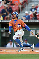 Durham Bulls outfielder Justin Christian (15) at bat during a game against the Buffalo Bisons on July 10, 2014 at Coca-Cola Field in Buffalo, New  York.  Durham defeated Buffalo 3-2.  (Mike Janes/Four Seam Images)