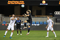 SAN JOSE, CA - OCTOBER 03: Florian Jungwirth #23 of the San Jose Earthquakes goes up for a header during a game between Los Angeles Galaxy and San Jose Earthquakes at Earthquakes Stadium on October 03, 2020 in San Jose, California.