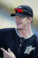 A. J. Burnett of the Florida Marlins before a 2002 MLB season game against the Los Angeles Dodgers at Dodger Stadium, in Los Angeles, California. (Larry Goren/Four Seam Images)