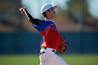 Javier Hinojosa during the Under Armour All-America Pre-Season Tournament, powered by Baseball Factory, on January 19, 2019 at Fitch Park in Mesa, Arizona.  Javier Hinojosa is a third baseman / right handed pitcher from Brownsville, Texas who attends Veterans Memorial Early College.  (Mike Janes/Four Seam Images)
