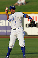 Omaha Storm Chasers shortstop Tony Abreu #6 throws to first base during  the game against the Reno Aces at Werner Park on August 3, 2012 in Omaha, Nebraska.(Dennis Hubbard/Four Seam Images)