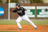 TJ Nichting (1) of the Charlotte 49ers takes his lead off of second base against the Canisius Golden Griffins at Hayes Stadium on February 23, 2014 in Charlotte, North Carolina.  The Golden Griffins defeated the 49ers 10-1.  (Brian Westerholt/Four Seam Images)